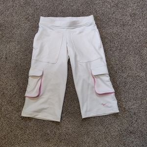 Nike White and Pink Athletic Capri Track Pants